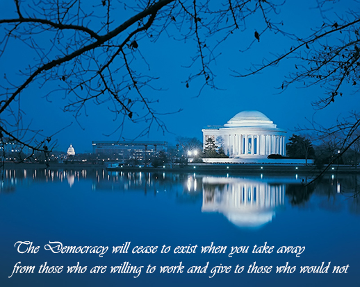 jefferson-memorial  in blue Democracy quote